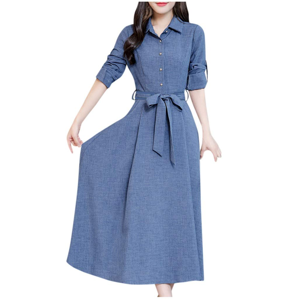Wenini Women's Elegant Vintage Boho Long Sleeve Lapel Button Down Casual Maxi Dress with Belt by Wenini