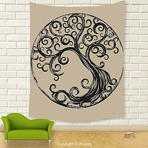 Vipsung House Decor Tapestry_Tree Of Life Decor Collection Tree Silhouette Pattern In Cycle Shape Vintage Style Curvy Twigs Illustration_Wall Hanging For Bedroom Living Room (Halloween Tree Silhouette Pattern)