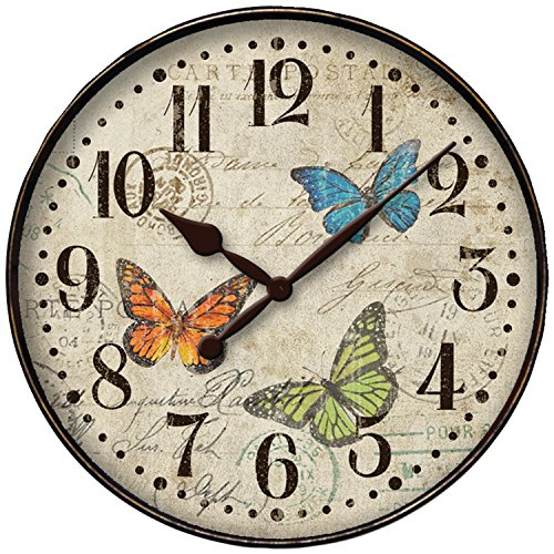 Westclox 32897BF Round Butterfly Wall Clock, - Himalayan Cat Black