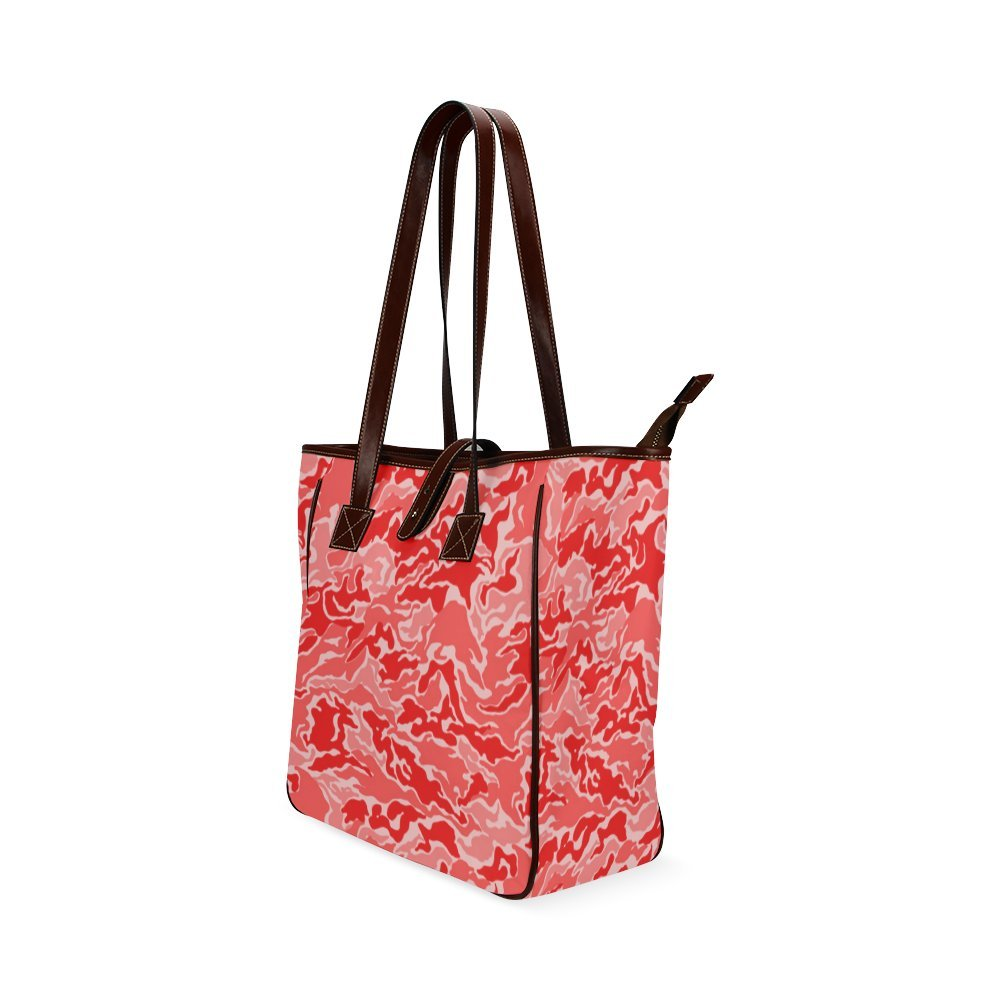 InterestPrint Custom Tote Bags Camo Red Camouflage Pattern Print Classic Tote Bag