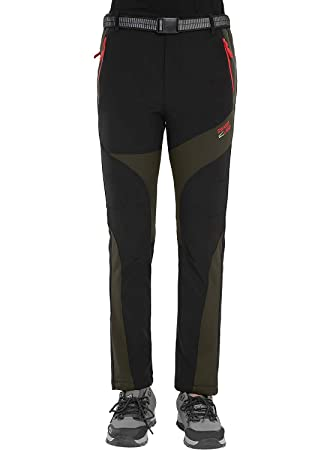 Pantalones de montaña para mujer, impermeables, cortavientos, con forro polar