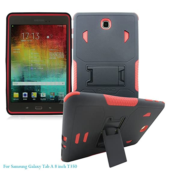 cheap for discount f308c 43812 [iRhino] TM For Samsung galaxy Tab A 8 inch T350 Tablet Black-Red Heavy  Duty rugged impact Hybrid Case cover with Build In Kickstand Protective Case