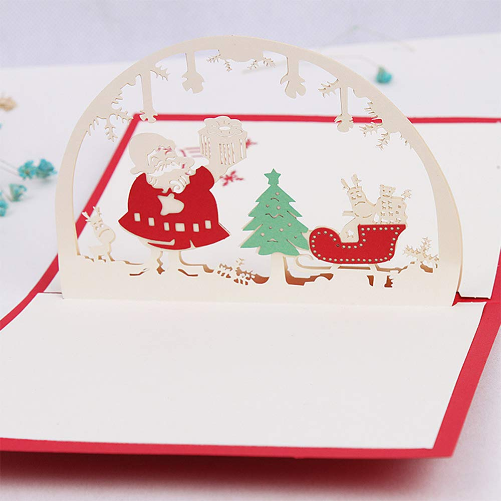 /Árbol De Navidad JinSu 3D Pop Up Tarjetas de Navidad Packs Mu/ñeco De Nieve Santa Dise/ños Campana 4 Pcs Tarjetas de Felicitaci/ón con Sobres para Navidad y A/ño Nuevo