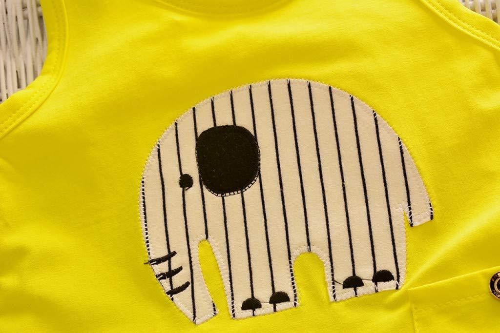 Cute Baby Boys Summer Pajamas Set | Toddler Boys Cartoon Vest Blue Tees Stripe Shorts Sets(Yellow,110) by Wesracia (Image #5)