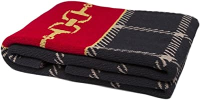 In2green Throw with Equestrian Horse Bit Plaid - Ultra Luxury Eco Blanket, USA Made (Black/Pomegranate/Straw)