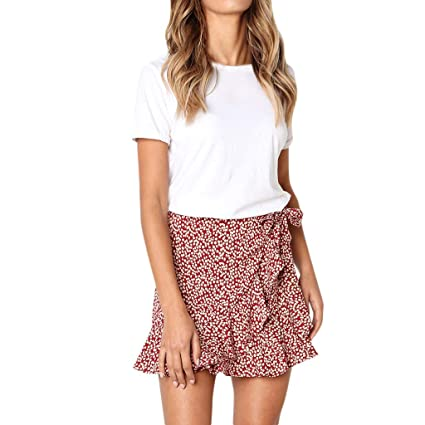 5fe14f85ab Amazon.com: Short Ruffle Skirts for Women Retro Breezy Floral Print and  Comfortable Light Skirt: Kitchen & Dining