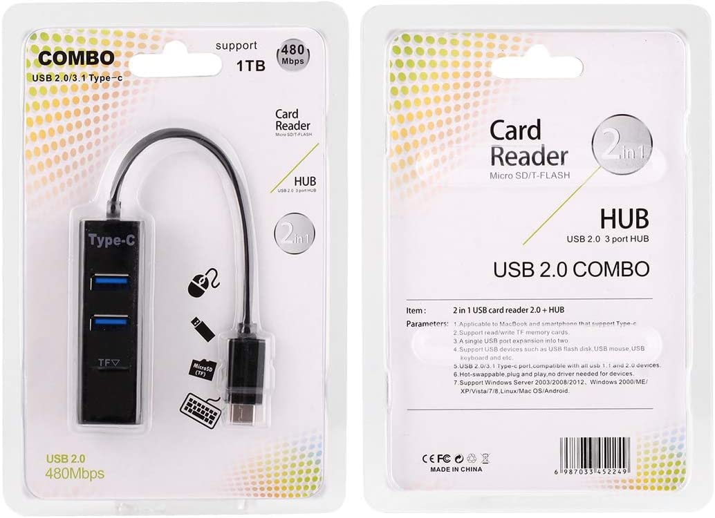 TF Card Reader Color : Black Computer Peripherals 2 in 1 USB 3.1 USB-C//Type-C to USB 2.0 Combo 3 Ports HUB Black