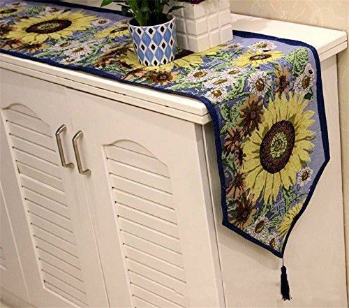 Indoor Outdoor Dining Accessories Colorfulife Set of 1 Tapestry Table Runner and 4 Placemats for Festival Home Decoration (11# Sunflower)