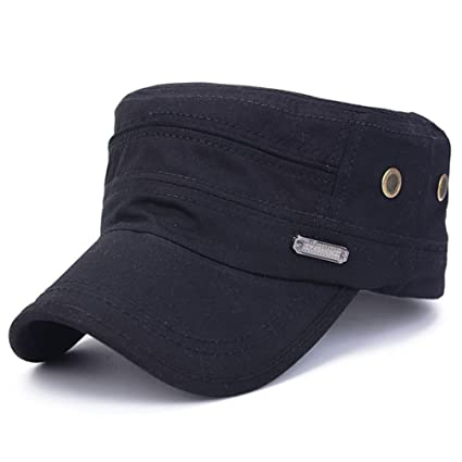 SUJING Military Caps Vintage Flat Top Cap Army Cap Cadet Hat Military Flat  Top Adjustable Baseball 3d27579edc4