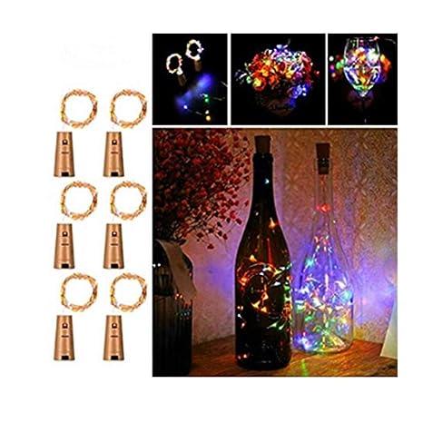Ankamall Elec 6 Pack 20 LEDs 6.5Ft Tapón de botella de vino tinto Led de