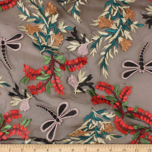 (TELIO Dragonfly Mesh Embroidery Black Fabric by The Yard)