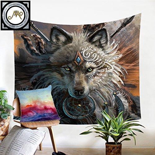 - Sleepwish Wolf Warrior by SunimaArt Tapestry Wolf Tapestries Wall Hangings Wolf Dreamcatcher Tapestry Tribal Wolf Tapestry (Tribal Wolf, M-50×60