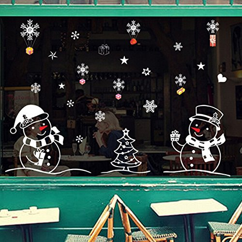 Winter Roll Wonderland Room (YOMXL Snowflake Town Christmas Decoration Window Clings Decal Winter Wonderland Ornaments Party Supplies Wall Stickers (C))