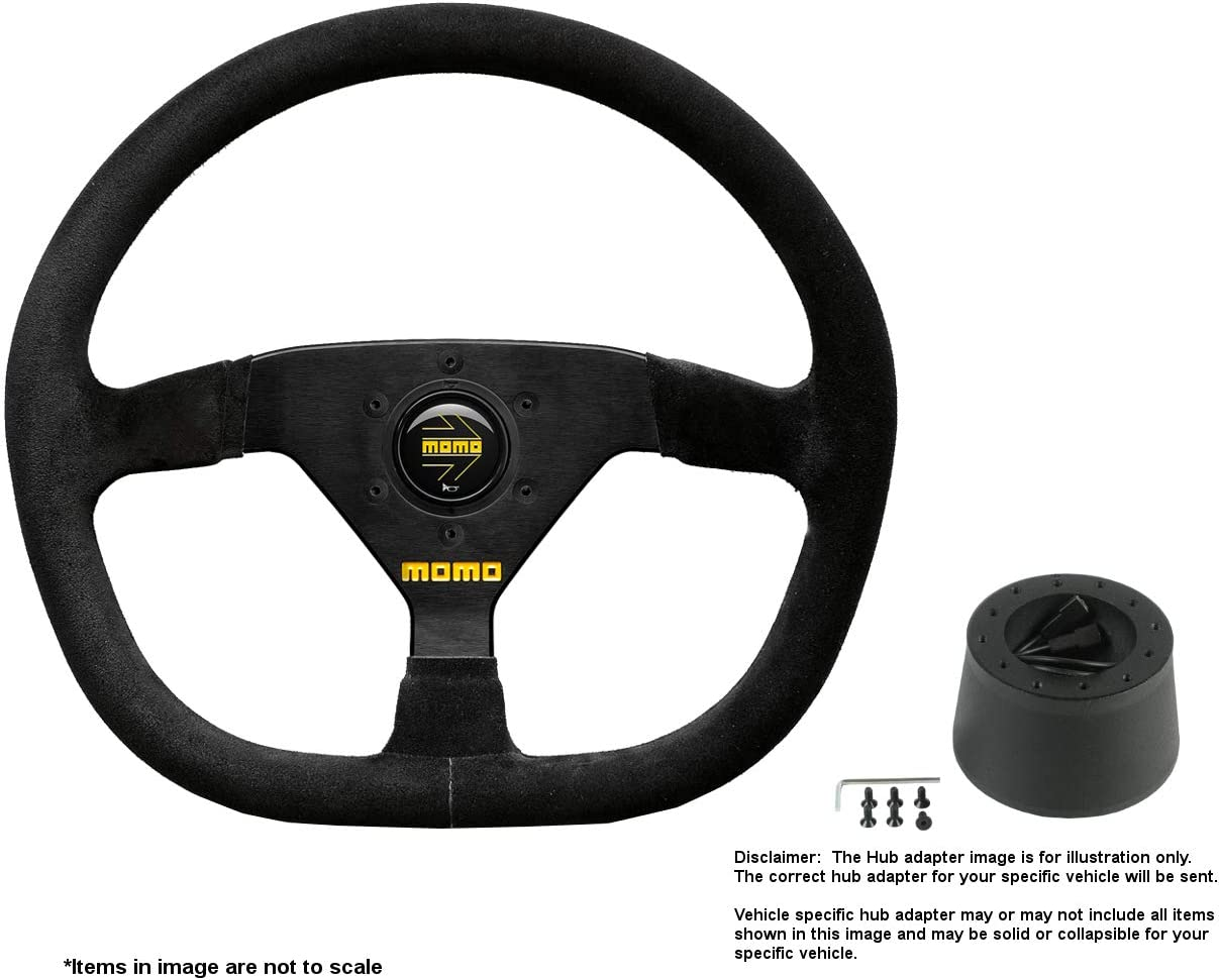 MOMO MOD.88 350mm (13.78 Inches) Suede Steering Wheel w/Brushed Black Anodized Spokes and Crowder's Hub Adapter for Alfa Romeo Spider Duetto Part # R1988/35S + 0512