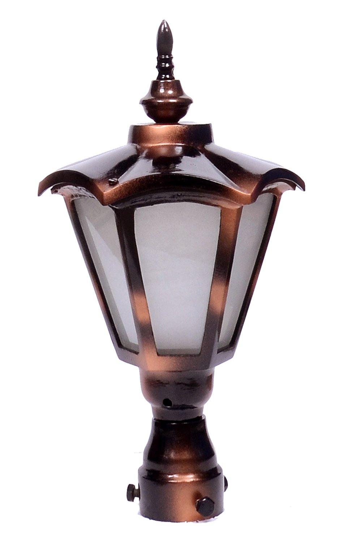 DecoLight Aluminum Casting Rust Resistant Outdoor Gate/Pillar/Garden Light (Small, Black-Copper Finish)