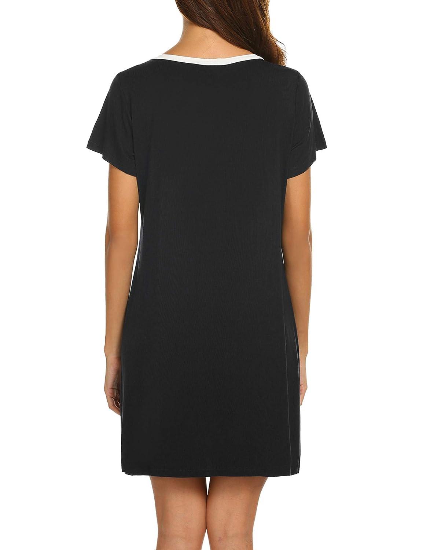 Ekouaer Women s Cotton Sleepwear Shirts Loose Top Henleys Short Sleeve  Nightgown Dress at Amazon Women s Clothing store  ac5b91009