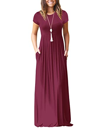 2f7cf9fdd85c Mljsh Women s Wine Short Sleeve Loose Plain Maxi Casual Dress with Pockets  Floor Length Long Dresses Size M at Amazon Women s Clothing store