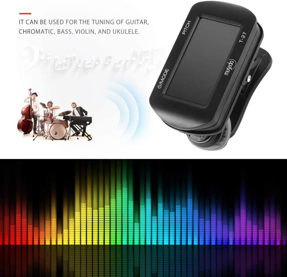 GOSONO Guitar Tuner Bass Guitar Ukulele Violin Common Tuner Clip-on LCD Screen 360 Rotatable Accurate Fast Tuning Guitarra