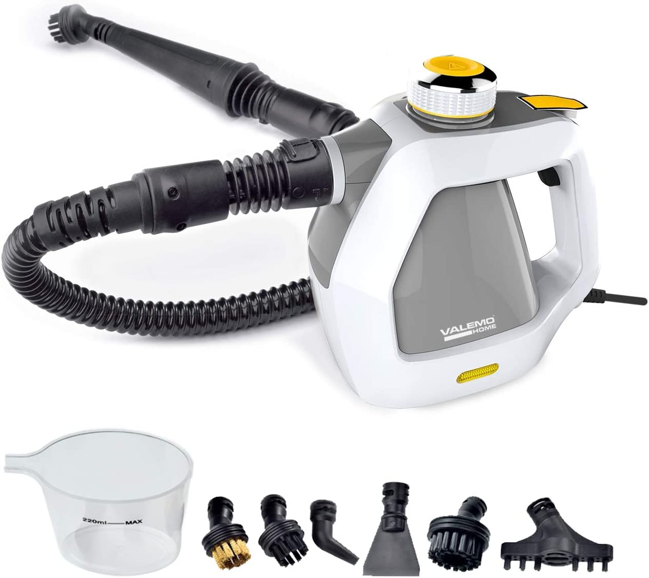 Valemo VH-ST10 Handheld Steam Cleaner and Multipurpose Steamer for Kitchens, Bathrooms and Cars, White