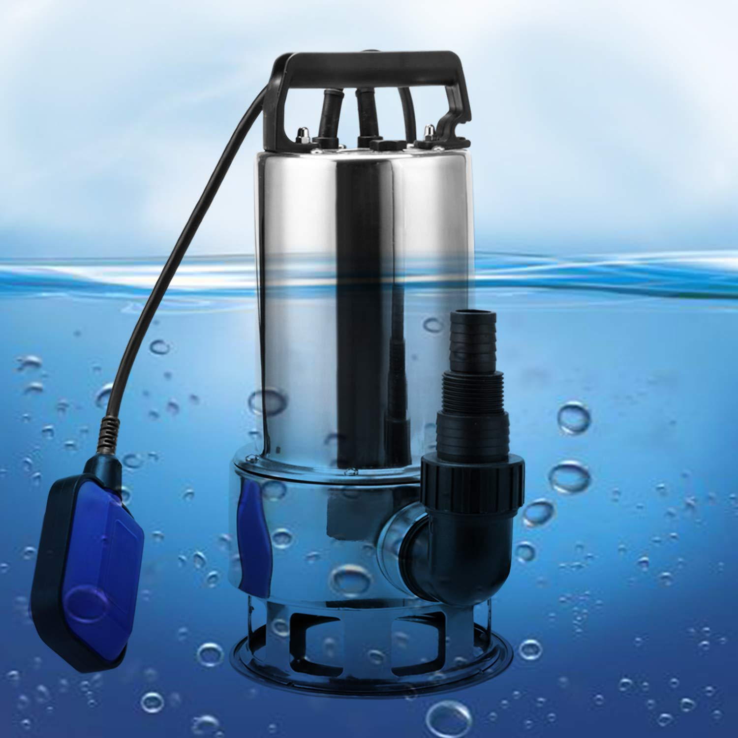 Homdox Submersible Water Pump 1.5 HP 1100W Garden Stainless Steel Sump Pump Pool Pump with Float Switch and 15ft Cable by Homdox (Image #1)