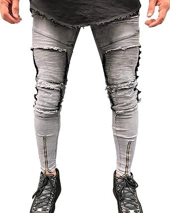 514ea5c23c903 Qitun Homme Jeans Déchiré Trou délavé Pantalon Denim Stretch Skinny Biker  Jeans Gris 38