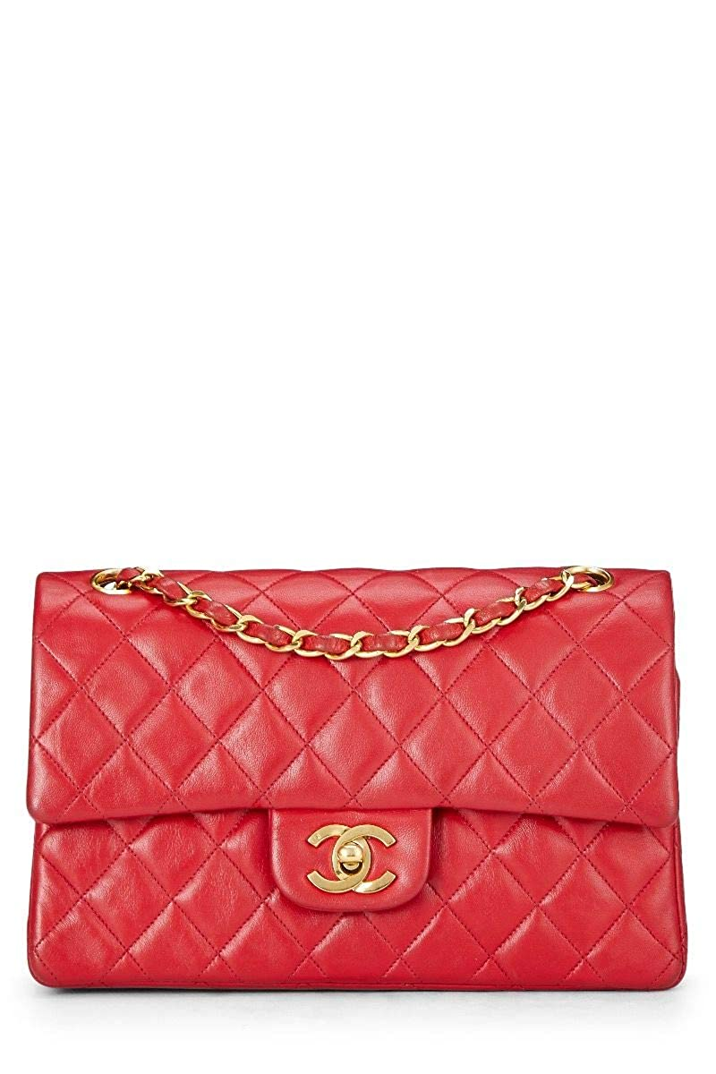 CHANEL Red Quilted Lambskin Classic Double Flap Small (Pre-Owned)