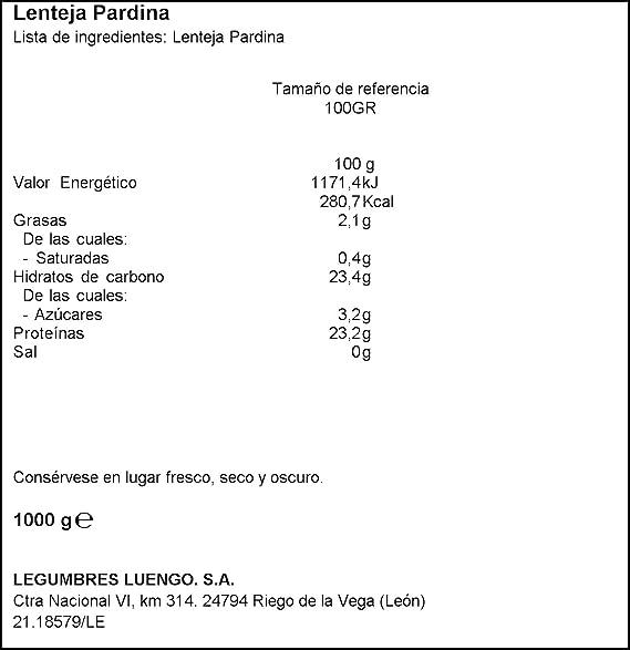 Luengo - Lenteja Pardina En Paquetes De 1 Kg - [pack de 5 ...