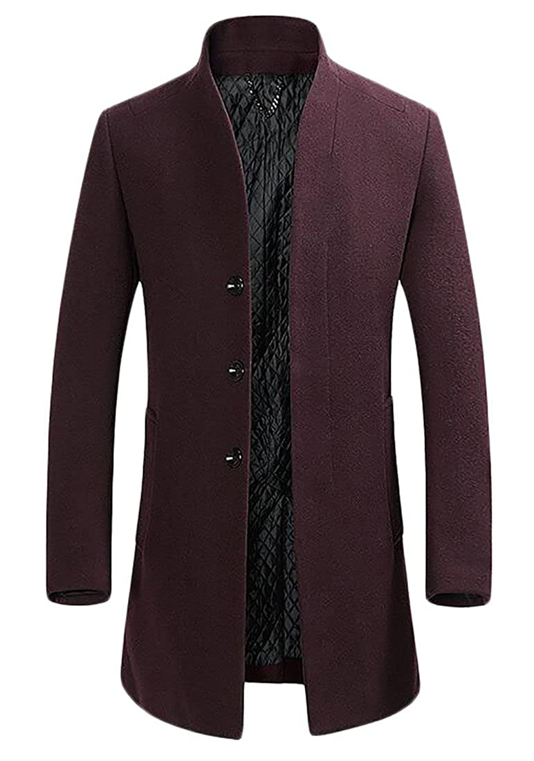 Red1 ARRIVE GUIDE Mens Thicken Wool-Blend Winter Warm Mid-Long Outwear Trench Coat