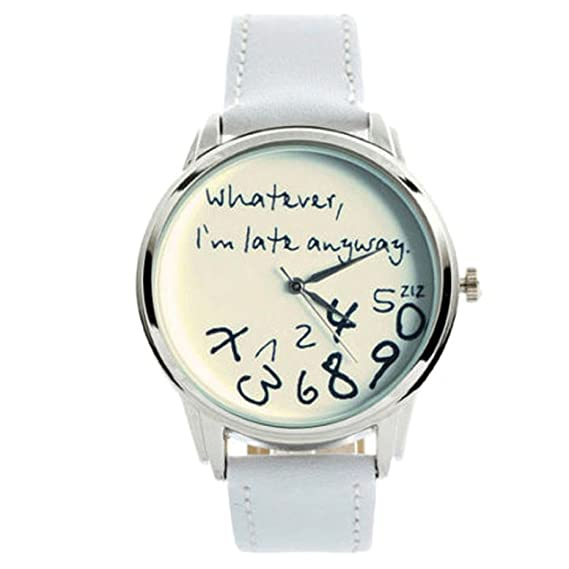 Womens Watch,Funny Leather Wristwatch Whatever I am Late Anyway Letter Dress Clock Axchongery (