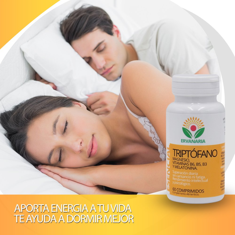 Triptófano con Magnesio, Vitaminas B6,B5,B3, Melatonina y ...