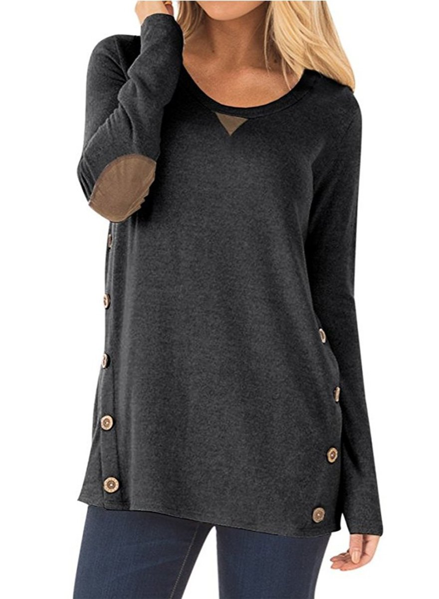 NICIAS Womens Side Buttons Long Sleeve Casual Crew Neck Elbow Patched Sweatshirt Loose T Shirt Blouses Tops (Black, Large/US 12-14)