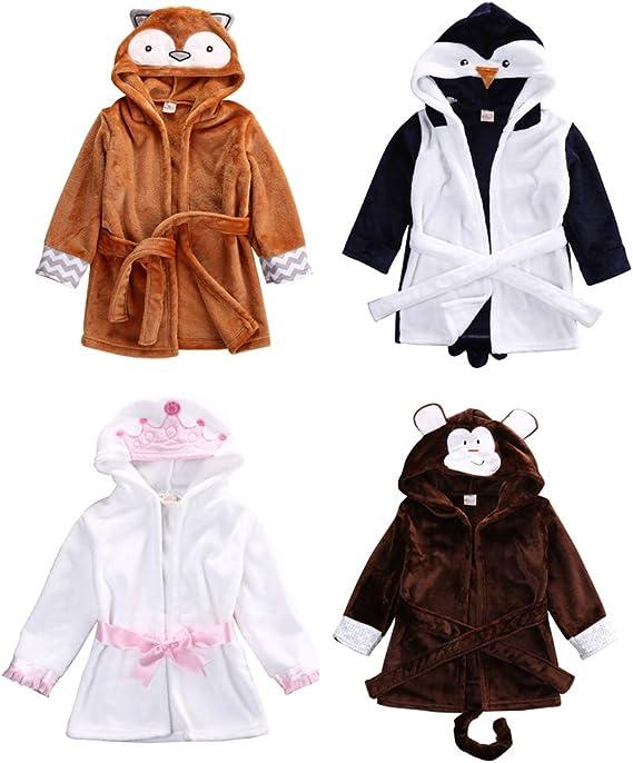 6-12 Months, Pink Crown Glosun Baby Coral Fleece Bathrobe Toddler Kids Hooded Terry Robe Cartoon Animal Pajamas Sleepwear Bath Wrap