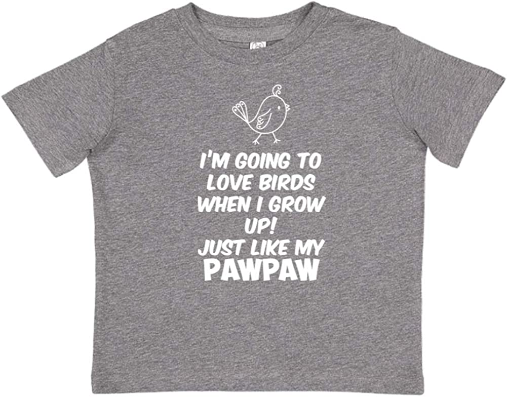 Toddler//Kids Short Sleeve T-Shirt Just Like My Pawpaw Im Going to Love Birds When I Grow Up