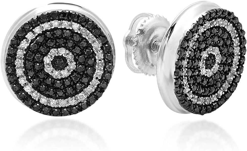 Dazzlingrock Collection 0.50 Carat (ctw) Real Black and White Diamond Micro Pave Hip Hop Mens Stud Earrings 1/2 CT