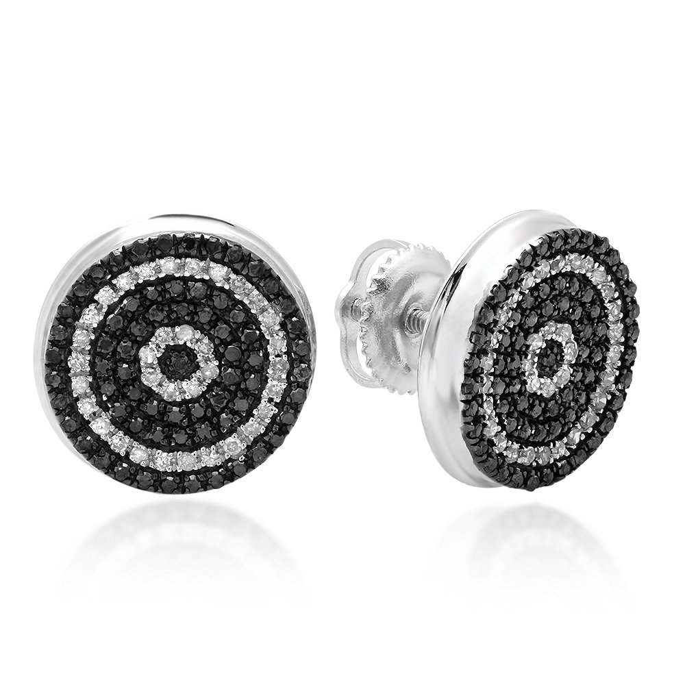 0.50 Carat (ctw) 10K White Gold Black and White Diamond Micro Pave Hip Hop Mens Stud Earrings 1/2 CT