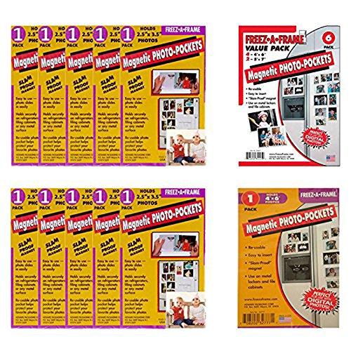 (Freez-A-Frame Magnetic Photo Pocket 2.5 x 3 .5 (Wallet size) 10 Pack + Freez-A-Frame Combo Pack Magnetic Photo Frames + Freez-A-Frame Magnetic Photo Pocket 4 x 6 + Ultimate Accessory Bundle)
