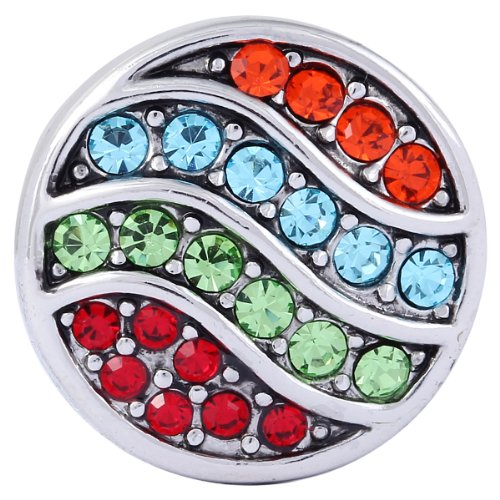Morella Click-Button Bouton pression de bijou pour femme avec pierres en zircon colorées