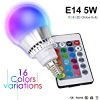 Colour Changing LED Light Bulb E14 5W RGB Dimmable 16 Colour Choices for Mood Lighting Home Decoration Bar Party KTV Stage Effect Lights Bulbs