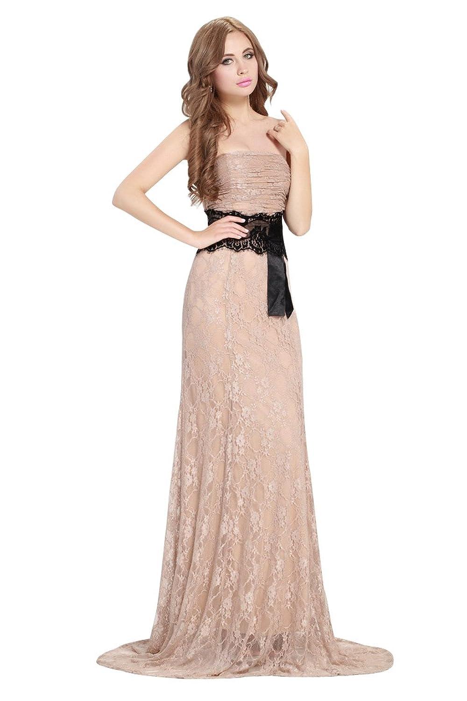 Dressesinstock Women's Lace Strapless Sleeveless Long Evening Dress