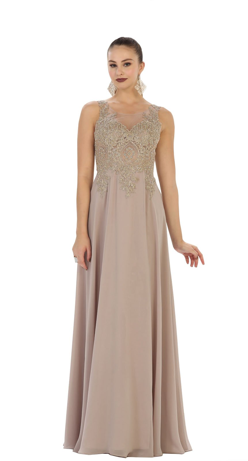 e168ae8f443f May Queen Formal Dress Shops Inc. FDS1432 Special Occasion Long Formal Gown  (10, Mocha)