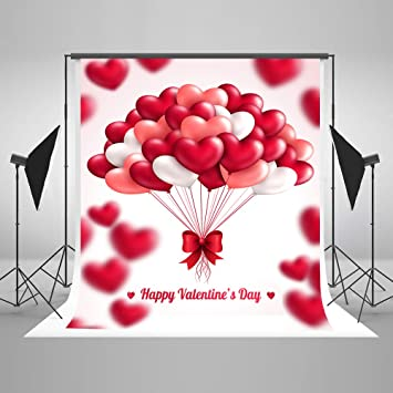 Valentines 10x6.5 FT Vinyl Photography Background Backdrops,Valentines Day Themed Love Illustration of Hearts with Ornaments Background for Graduation Prom Dance Decor Photo Booth Studio Prop Banner