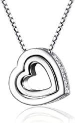 3b263aa47 Mondaynoon Chain Necklace - Heart Shape Clear Crystal Pendant Necklace, ...