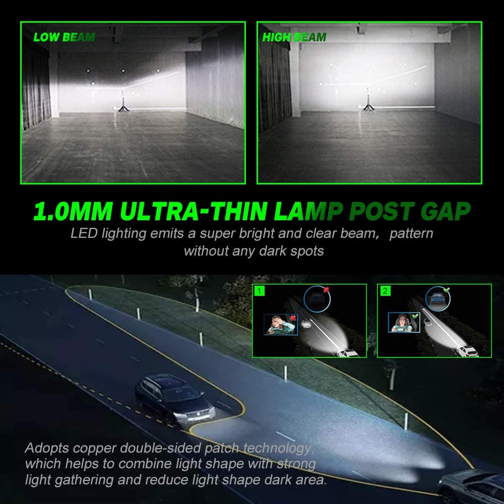 Wireless 1:1 Design Slim All-in-One Conversion Kit 2pcs 9005 and 2 pcs 9006 Included 200/% Brighter Than Halogen 9005//HB3 High Beam 9006//HB4 Low Beam Combo LED Headlight Bulbs 6000K Cool White