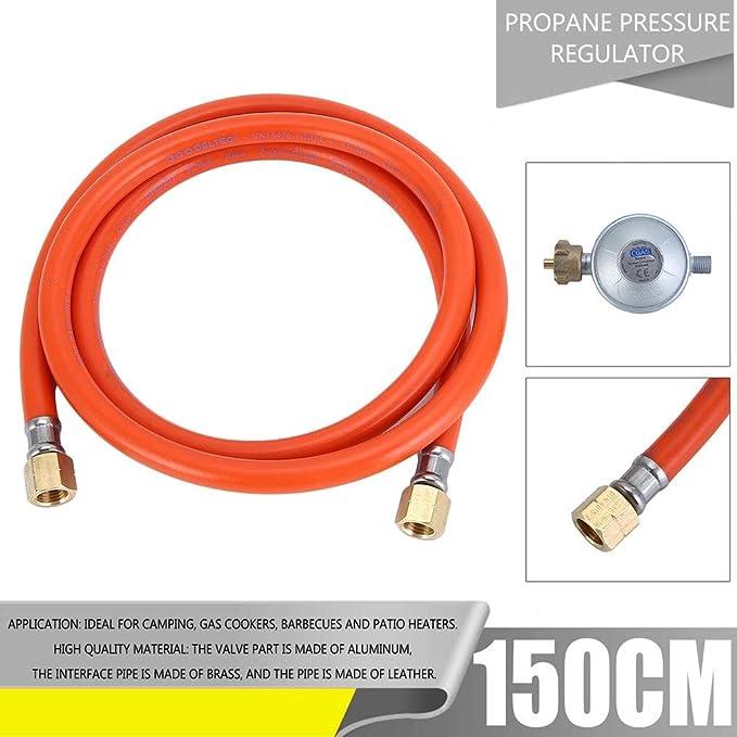 Prinfong Reductor de presión de Gas + Manguera Gas Flexible ...