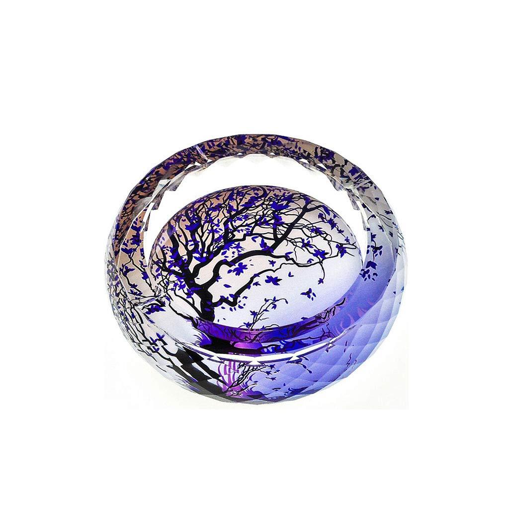 YINJIU Klassisches Muster Transparente Runde Form Kristallglas Zigarettenaschenbecher für Home Office Tisch Schreibtisch Dekoration, 13 cm, 15 cm, 18 cm, 20 cm, 25 cm (größe : 18 * 18 * 4.5cm)