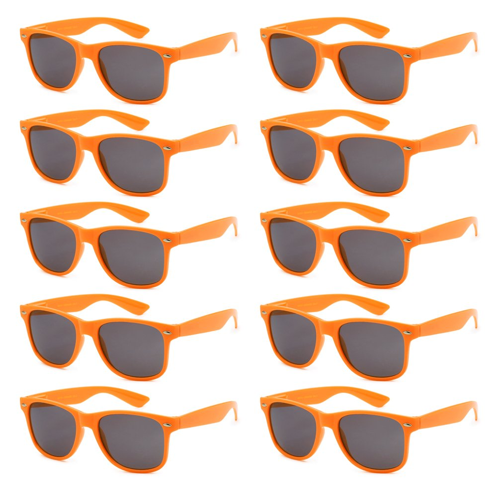 WHOLESALE UNISEX 80'S RETRO STYLE BULK LOT PROMOTIONAL SUNGLASSES - 10 PACK Smoke) Got Shades WF01-10PK