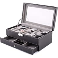 HOMFA 12 Slots Leather Watch Box Jewelry Display Case with Drawer and Removable Storage Pillows,Watch Case for Men&Women