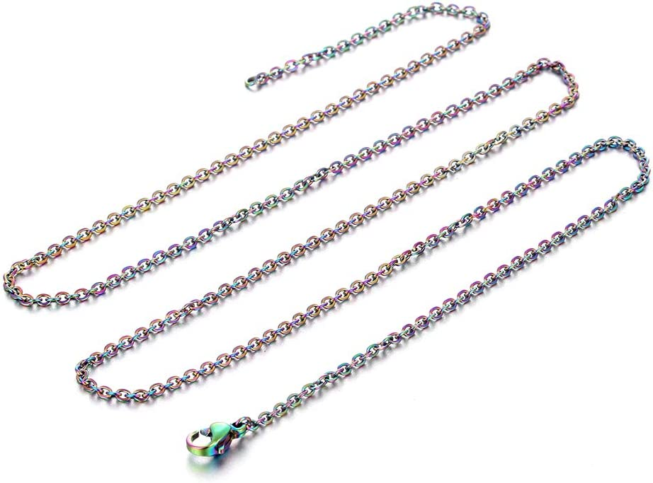 45cm 10pcs//Pack Rainbow Colored Link Chain Stainless Steel Chain Necklace with Clasp for Jewelry Making 18