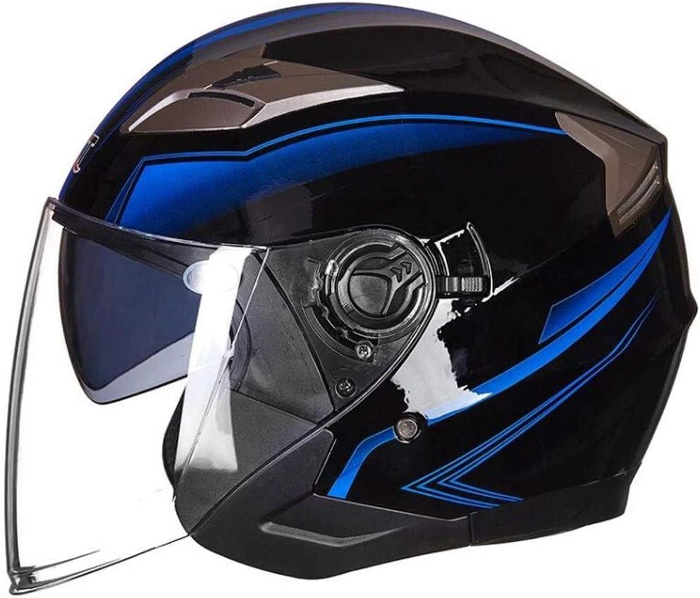 ダブルレンズ四季ユニバーサルヘルメットと男性と女性のための電気オートバイのバッテリーカーヘルメット (Color : 黒 3, Size : M)