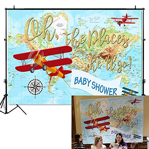 Mehofoto Oh The Place He'll Go Baby Shower Backdrop World Map Adventure Photography Background 7x5ft Vinyl Airplane Boy Baby Shower Party Banner Decoration